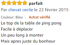 table de ping pong Cornilleau avis